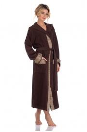 Удлиненный махровый халат с капюшоном La Reine (PM 914)