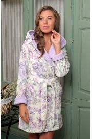 Укороченный махровый халат с капюшоном Madonna (EFW)