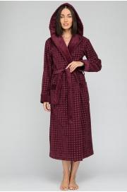 Махровый халат с капюшоном Ultra Doux (PM France 741) сливовый