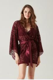 Кружевное кимоно бордовый (54082-9) Laete