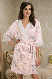 Короткий шелковый халат – кимоно EDEM (70% нат.шелк)