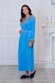 Велюровый халат голубой