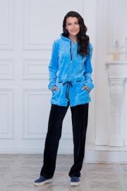 Велюровый костюм голубой с черным