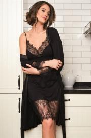 Женский халат с кружевными вставками цвет капучино