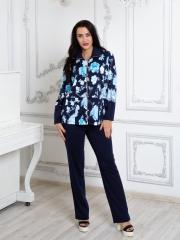 Костюм для отдыха с бархатными брюками синий