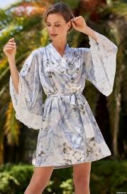 Короткий халат из шелка Mia Amore 3603