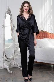 Черная пижама -тройка Marisia (иск.шелк-сатин)