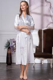 Длинный белый шелковый халат Kelly (70% шелк)