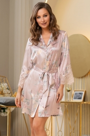 Короткий шелковый халат на пуговицах Mia Amore Милинда (70% нат.