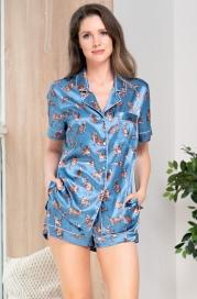 Атласная пижама с шортиками на пуговицах Mia Amore Kitty