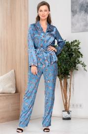 Атласная пижама-тройка на пуговицах Mia Amore Kitty