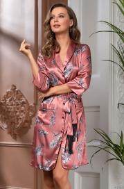 Короткий атласный халат на пуговицах Mia Amore Саванна