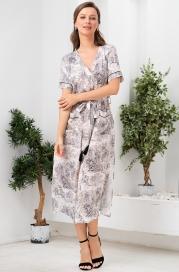 Длинный халат из вискозы на пуговицах Mia Amore Элефант